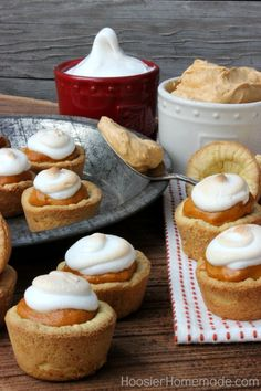 Mini Pumpkin Mousse Pie with Meringue | Recipe on HoosierHomemade.com