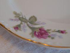 Vintage German China Dessert Plates, Salad Plates, Set of 6, Rose Pattern, Gold Trim by GandTVintage on Etsy
