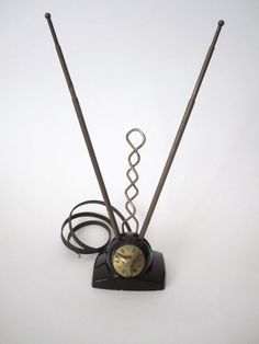 Vintage 1950s television antenna rabbit ears. They had to be positioned tweeked and turned just right to get reception!