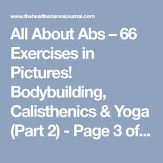 All About Abs – 66 Exercises in Pictures! Bodybuilding, Calisthenics & Yoga (Part 2) - Page 3 of 4 - The Health Science Journal