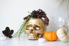 DIY Gilded Skull Vase Halloween