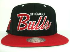 Mitchell and Ness NBA Chicago Bulls Script Snapback Hat, Cap by Mitchell & Ness. $22.99. Official Mitchell and Ness NBA Chicago Bulls Script Snapback Hat, Cap. Black/Red Script