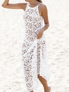 White Spaghetti Strap Deep V Back Sleeveless Lace Crochet Maxi Dress