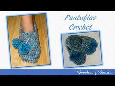 Pantuflas tejidas a crochet (ganchillo) - YouTube