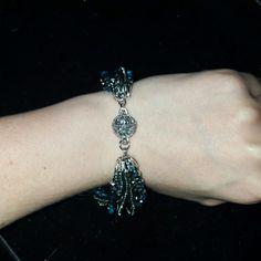 "Premier Designs ""Seaside"" Bracelet 1 8"" 9 strand imitation rhodium plated and crystal/glass bead bracelet with magnetic clasp. Brand new, never worn. Premier Designs Jewelry Bracelets"