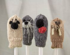 Hooded Seal Knit Wool Finger Puppet by PlaidSticks on Etsy