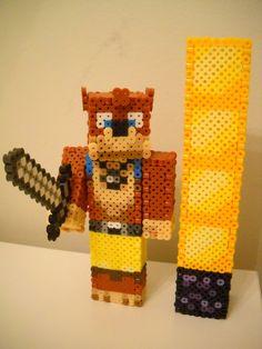 Michael (Achievement Hunter Team Lads) - Minecraft perler beads by RetroNinNin on deviantART Fuse Beads, Hama Beads, Minecraft Perler, Minecraft Stuff, Minecraft Skins, Stampy And Squishy, Easy Perler Bead Patterns, Achievement Hunter, 3d Figures