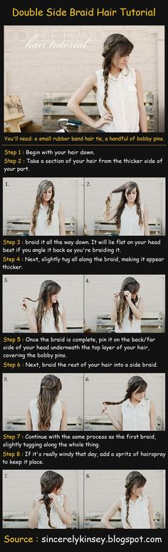 Double Side Braid Hair Tutorial Steps : Begin with your hair down. Take a section of your hair from the thicker side of your part. Side Braid Hairstyles, Braided Hairstyles Tutorials, Down Hairstyles, Pretty Hairstyles, Easy Hairstyle, Side Braid Tutorial, Coiffure Hair, Do It Yourself Fashion, Gorgeous Hair