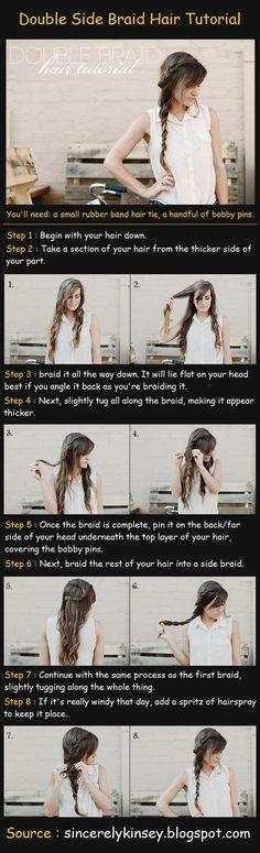 literally 100s of hair tutorials! - Double Side Braid Hair Tutorial
