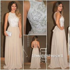 A-line Round Neck Sequin Chiffon Champagne Long Prom Dresses, Evening Dresses