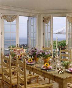 pretty spring coastal view table!