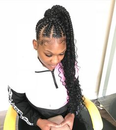 Top 60 All the Rage Looks with Long Box Braids - Hairstyles Trends Box Braids Hairstyles, Braided Ponytail Hairstyles, My Hairstyle, Girl Hairstyles, Teenage Hairstyles, Braided Hairstyles For Black Women, African Hairstyles, Hairstyle Ideas, Ponytail Styles