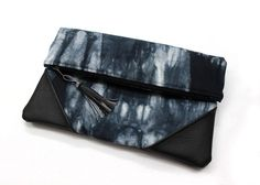 Black Shibori Bag Fold Over Clutch Hand Dyed Clutch by AikoThreads