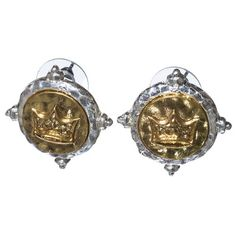 Amazon.com: Designer Inspired Aged Gold Tone Crown on Aged Silver Tone Stud Earring.: Jewelry