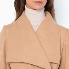 Mantel met sjaalkraag (60% wol) | LAURA CLEMENT | La Redoute