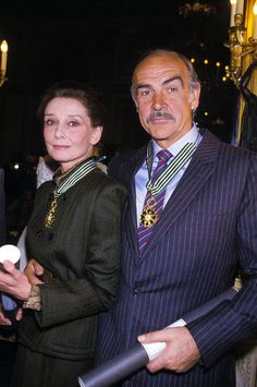Audrey Hepburn and Sean Connery photographed together after having been awarded a Commandeur de L'Ordre des Arts et des Lettres for their significant contributions furthering the arts in France and throughout the world, Paris, France, March 6, 1987.  Audrey and Sean received the award from Deputy culture minister Philippe De Villiers.