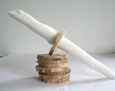 Rustic napkin rings from light birch wood