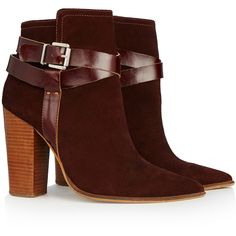 Warehouse Suede Buckled Heeled Boot ($130) ❤ liked on Polyvore featuring shoes, boots, ankle booties, buckle ankle boots, high heel boots, short suede boots, strappy booties and high heel ankle boots