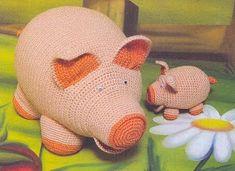 Hoje vou colocar a receita que usei para fazer o porquinho de croche, tirei de uma revista,  mas conforme ia fazendo fiz algumas adaptações...