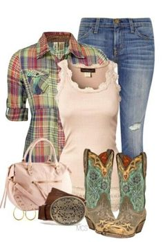 I especially love the boots!! #countrygirl #countryoutfit #countryfashion For more Cute n' Country visit: www.cutencountry.com and www.facebook.com/cuteandcountry