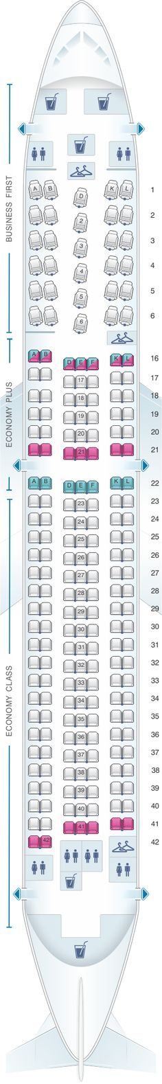 Seat Map United Airlines Boeing B767 300ER – version 2