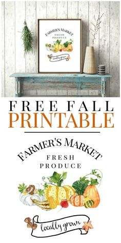 Print these exclusive free farmers market inspired fall printables for your own DIY seasonal wall art. Use to make banners, cards, screensavers & crafts. Watercolor fall printables.