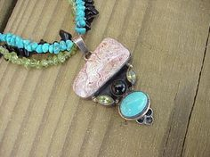 Handcrafted sterling silver, gemstone necklace with pendant