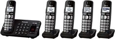 PANASONIC KX-TGE245B Cordless DECT 6.0 Phone, 5 Handsets, Advanced TAD, DK  #Panasonic