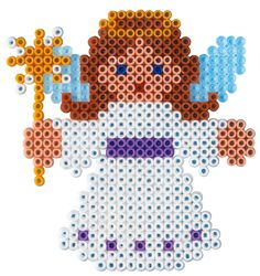 Christmas angel hama perler beads - but take out the wand Fuse Bead Patterns, Perler Patterns, Beading Patterns, Loom Patterns, Embroidery Patterns, Art Patterns, Knitting Patterns, Fuse Beads, Pearler Beads
