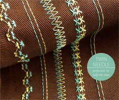 "Quick Tip: Using a Twin or Double Needle | Sew4Home-""How do you get your double rows of stitching so perfectly even?"" We've quietly given out our secret to several of you. But now we've decided it's time to reveal it to the world. The way to get perfectly even, super close, double rows of stitching is... to use a twin needle."
