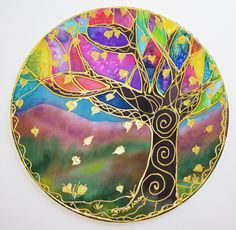 Image detail for -Tree of Light Mandala hand painted silk by HeavenOnEarthSilks