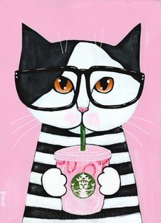 Kitty Loves the Pink Drink Original Coffee Cat Folk Art Painting Frida Art, Cat Drinking, Pink Drinks, Pink Cat, Coffee Art, Cat Art, Cute Cats, Folk Art, Art Drawings