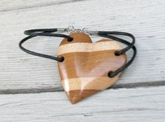 Wooden Heart Bracelet in Maple & Cherry Hardwoods by TheLotusShop, $18.95