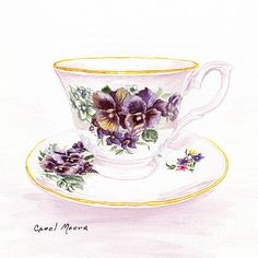 Tea cup and saucer with pansies, watercolor painting by artist Carol Moore.