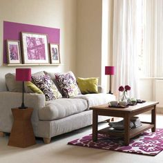 Living room with pruple accents | Living room furniture | Decorating ideas | housetohome.co.uk