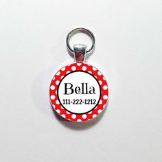 Custom Made DOG ID TAG, Pet Tag,  Your Dog's Name with Phone number, Personalized Dog Tag, Dog Tag, Red bright color Print, Girly Dog tag by annmariesisters3 on Etsy