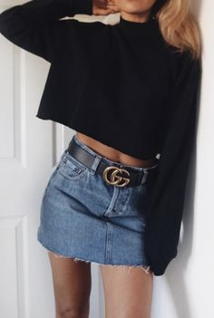 Denim skirt and Gucci belt