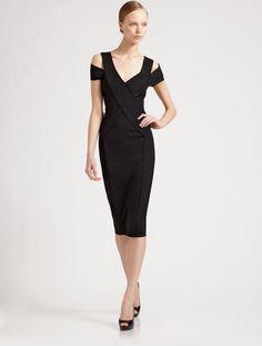 Donna Karan New York Capsleeve Sculpted Dress in Black - Lyst