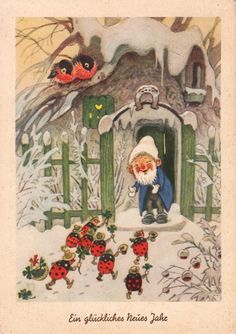 Build ladybug habitats for winter shelter Vintage Christmas Cards, Christmas Pictures, Christmas Art, Vintage Cards, Art Fantaisiste, Baumgarten, Elves And Fairies, Magical Creatures, Illustrations And Posters