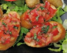 Bruschetta :Sweet tomatoes, fresh basil, and garlic on toasted Italian bread. Six pieces from Marla's Cafe Restaurant in Venice #Food #Bruschetta forked.com