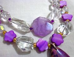 Chunky Raw Crystal Bohemian Necklace Amethyst Hippie by anainc