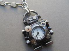 Benny The STeaMPunK Robot Necklace by IrisJane on Etsy, $18.25