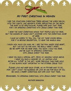 From those in heaven, who we miss so much... My First Christmas In Heaven