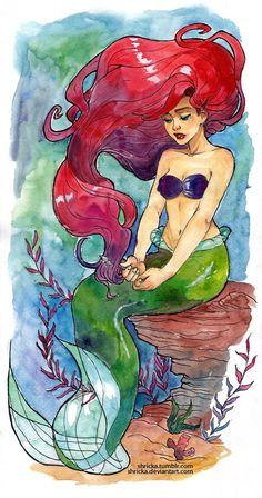 ariel watercolor tattoo