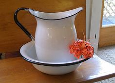 Vintage Enamelware Pitcher and Bowl. $80.00, via Etsy.