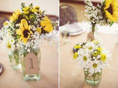 Sunflower and daisy centerpieces