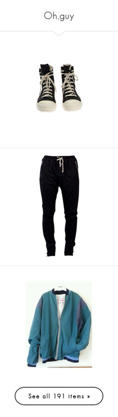 """""""Oh,guy"""" by shenzi-uni ❤ liked on Polyvore featuring shoes, sneakers, shoes - sneakers, black trainers, white sneakers, genuine leather shoes, black leather shoes, black white sneakers, activewear and activewear pants"""