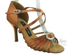 Natural Spin Signature Latin Shoes(Open Toe):  H1111-02_DrTanS