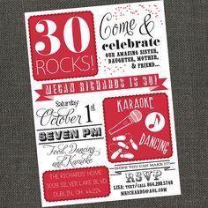 30/40/50 ROCKS  Birthday Party Invitation  by michelepurnerdesigns, $17.00
