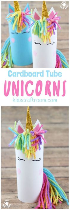 Who can resist unicorns? Don't they capture all things childhood and magical? Here's the most adorable Cardboard Tube Unicorn Craft kids will fall in love with. They're easy to make and their fingerprint rosy cheeks add a lovely personal touch! They're sure to spark lots of imaginative play and story telling. #unicorn #unicorns #unicorncrafts #kidscrafts #cardboardtubes #tprolls #papertubes #craftsforkids #recycledcrafts #preschoolcrafts #kidscraftideas #kidscraftroom via @KidsCraftRoom